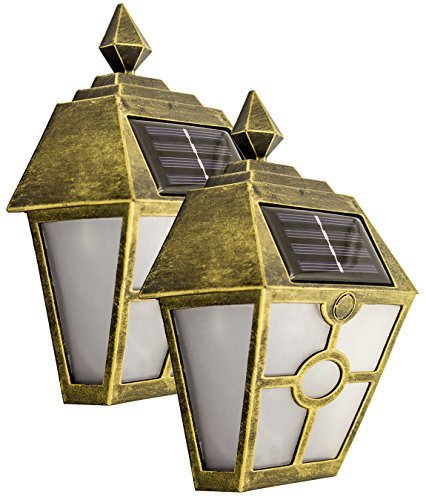 Solar Wall Light Home Decor Decorative Mount Lights Outdoor Decorations Warm White LED Deal of The Day Prime Sogrand Bronze Pathway Lamp 2Pack for Garage Door Deck Fence Stair Walkway Driveway - Bronze Outdoor Lamp