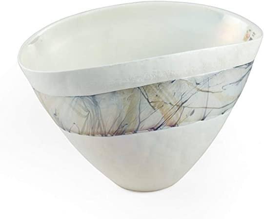 Lifestyle /& More Modern decorative bowl fruit bowl bowl made of ceramic in silver length 30 cm /