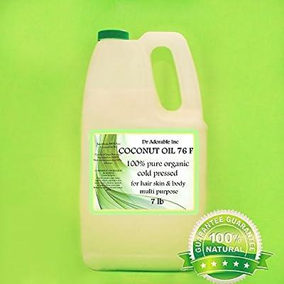 Organic Pure Coconut OIL 76 Degree 7 Lb / One Gallon by Dr Adorable Inc
