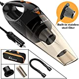 Hikeren Car Vacuum Cleaner, DC 12-Volt 106W 4300-4500PA Handheld Wet&Dry Multifunctional Auto Vacuum Cleaner, 16.4FT(5M)Power Cord with LED Light Stainless Steel HEPA Filter, One Carry Bag (Black)