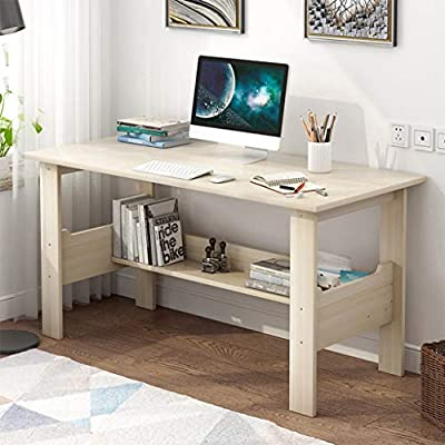 "Computer Desk with One-Tier Storage Shelves, Modern Large Office Desk Computer Table Studying Writing Desk Workstation with Bookshelf and Tower Shelf for Home Office (White) - Fast shipping: You will receive the product in 3 - 5 days after you purchase. Package will be shipped from East Coast Area or West Coast Area By FedEx & DHL.The biggest two of our warehouses are located in Orlando and Los Angeles. Large Desktop: L*39.4 x W*17.7 x H*28.3 inches(100x45x72CM),the computer desk has strictly quality checking before packaged.It's extremely sturdy and easy to clean, rag cleaning is enough SUPER DURABLE & STABLE: 0.85"" thick MDF board is water & dust resistant and easy to clean. Foot pads not only can be used in uneven ground to prevent scratches, strengthen the stability, but also make adjustment of height to meet your various demands. - writing-desks, living-room-furniture, living-room - 51TMtoOXgXL. SS400  -"