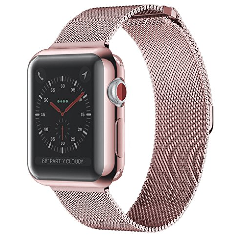 Admaster For Apple Watch Band 42mm Stainless Steel Metal Replacement Wristband Milanese Sport Strap And Apple Watch Screen Protector For Apple Watch Series 3 2 1 Rose Gold Buy Online In United