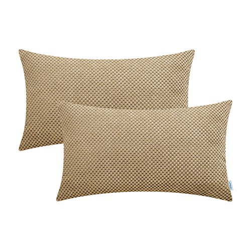 - CaliTime Pack of 2 Comfy Bolster Pillow Covers Cases for Couch Sofa Bed Comfortable Soft Solid Corduroy Pineapple Trellis Both Sides 12 X 20 Inches Khaki