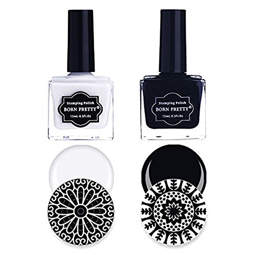 BORN PRETTY 2 Bottles Nail Art Stamping Polish Pure White Black manicuring Image Print Polish Varnish 15ML - Material Pearlescent