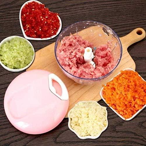xxnswy picadora manual con cuerda Picador manual, ajo, cebolla, jengibre, jengibre, maní, pimienta, varios ingredientes, olla pequeña (rosa): Amazon.es: Hogar