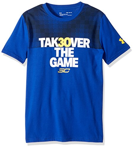 Under Armour Boys' SC30 Takeover T-Shirt,Royal (400)/Taxi, Youth X-Large