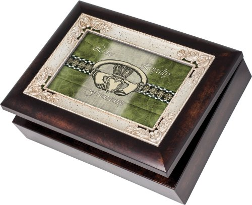 Italian Inlay Jewelry Box (Cottage Garden Love Loyalty Burlwood With Silver Inlay Italian Style Music Box / Jewelry Box Plays Irish Eyes)