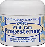 Wild Yam & Progesterone Cream - For Menopause and Mid life Changes.- Hot Flashes - Paraben Free - Fragrance Free - Wise Essentials