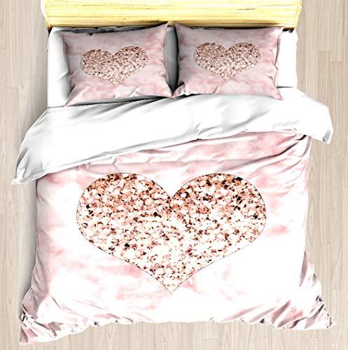 NTCBED Rose Gold - Heart - Duvet Cover Set Soft Comforter Cover Pillowcase Bed Set Unique Printed Floral Pattern Design Duvet Covers Blanket Cover Twin/XL Size ()