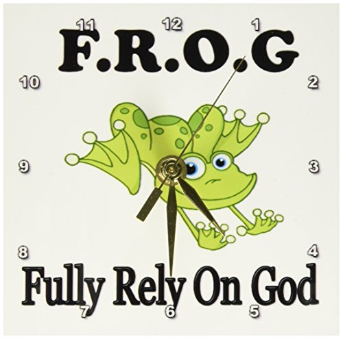 God Wall Clock - 3dRose dc_149833_1 Frog Fully Rely on God Desk Clock, 6 by 6-Inch