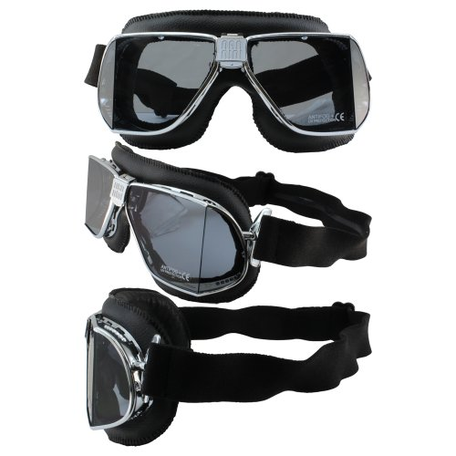Nannini Custom Padded Motorcycle Goggles Hand-Sewn Black Leather Frames Clear Anti-Fog - Goggles Custom
