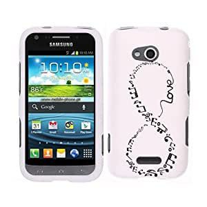 Fincibo (TM) Protector Cover Case Snap On Hard Plastic Front And Back For Samsung Gogh Galaxy Victory 4G LTE L300 - Love Music Infinity