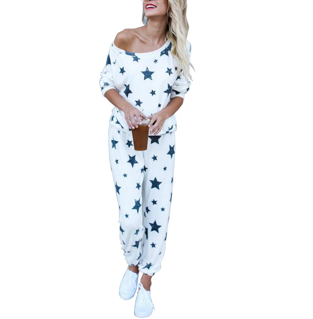2Piece Women's Casual Tracksuit Set,Long Sleeve Stars Print Round Neck Sweatshirt Joggers Pants Clothing Outfits Suit White by KINGLEN Womens Tracksuit