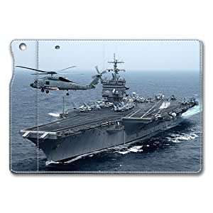 iPad Air Case Leather,Uss Enterprise Aircraft Carrier Ultra Slim Flip Folio Leather Case for iPad Air (NOT for iPad Air , Original Design And Made By PhilipHayes