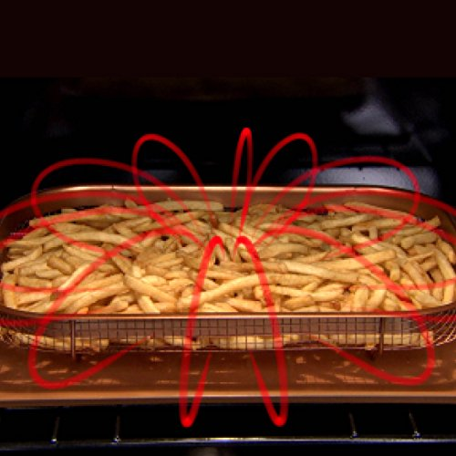 -[ Copper Chef Crisper Non-Stick Oven Baking Tray with Elevated Mesh Basket, Copper, 2-Piece  ]-