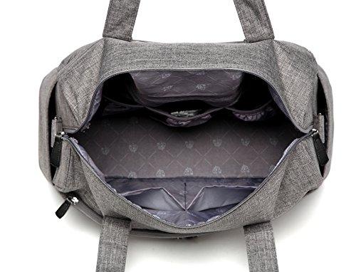 Bolso organizador LCY tipo Tote elegante, multi función, para cruzar en el cuerpo, pañalera con almohadilla de cambio para bebés camouflage gris