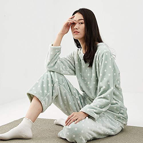 Suave Felpa tamaño Franela Pijamas Xxl Set Caliente Espesar Home Mujeres Manga Service Cómodo De Fleece Solapa Las Algodón Coral Larga xw1xqYgWRX