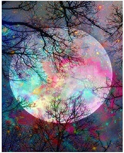 Classical Full Moon Mid Night Paint By Numbers Kits For Adults DIY Painting Tool