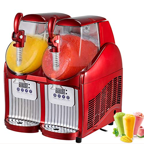 VEVOR Slushy Machine 110V Mini Slush Frozen Drink Machine Commercial Smoothie Maker Slushy Making Machine Suitable for Commercial Use (2.5L*2Tank, Red)