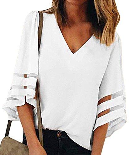 Patchwork Solide Mousseline Cou Femmes Moiti Blanc Tops Manches D't Chemise de Sexy Blouse Casual V Tops Maille Soie en Lache wXgxzTq
