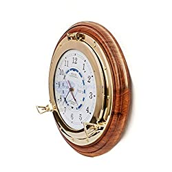 18 Pirate's Beautiful Navy Style Time & Tide Clock | Exclusive Brass Wall Decor Gift And Collectibles | Nagina International (18 Inches)