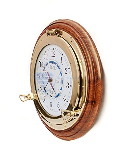 18'' Pirate's Beautiful Navy Style Time & Tide Clock | Exclusive Brass Wall Decor Gift And Collectibles | Nagina International (18 Inches) by Nagina International