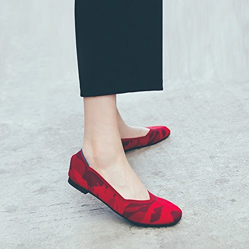 Rouge Stretch Shallow 36 Fond Mode Respirante Tissu Tête Carrée Bouche DIDIDD Doux Chaussures Paresseux BTxYwqF7n