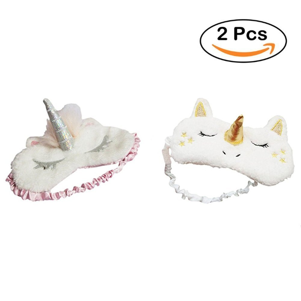 Hilai 2Pack 3D Unicorn Horn Sleeping Eye Mask Soft Padded Travel Eyepatch Plush Blindfold Eye Cover for Women Girls