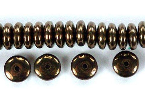 50 Dark Bronze Czech Pressed Glass Rondelle Spacer Beads 6mm