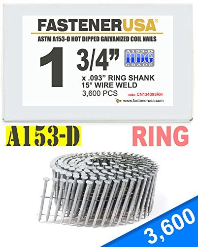 1 3/4'' x .093 RING A153-D HOT DIP COIL NAILS 15 DEGREE WIRE 3.6M Box