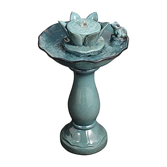 """John Timberland Pleasant Pond Frog Lotus Modern Outdoor Floor Water Bubble Fountain 25 1/4"""" High Scalloped Pedestal Bowl for Yard Garden Patio Deck - 25 1/4"""" high x 15 1/2"""" wide. Weighs 19.8 lbs. Outdoor pedestal ceramic fountain with frog and lotus flower. By John Timberland. Charming lotus and frog motif. Water bubbles up from center water flower. Makes a wonderful accent for gardens or patios. - patio, outdoor-decor, fountains - 51TMw7DuCIL. SS570  -"""