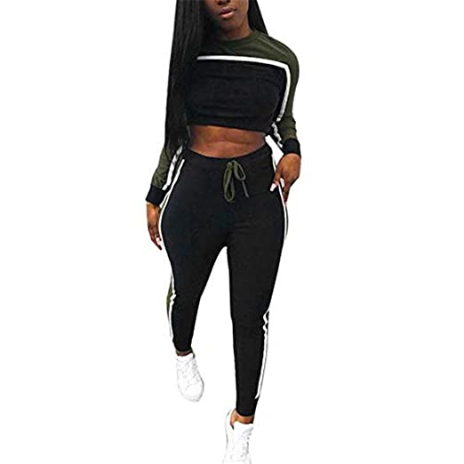 272df01a48f6e Image Unavailable. Image not available for. Color  Triskye Womens Casual  Sportswear Set Fitness Tracksuit Sweatshirt Long Sleeve Tops+Long Pants ...