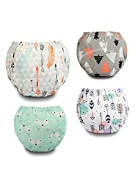 Potty Training Pants Toddler Cotton Training Underwear Baby Reusable Pack 4 -Boys and Girls Size 2M-5T