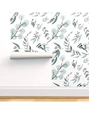 Spoonflower Peel and Stick Removable Wallpaper, Eucalyptus Native Australian Natives Botanical Nature Eucalyptus Print, Self-Adhesive Wallpaper in a Variety of Sizes