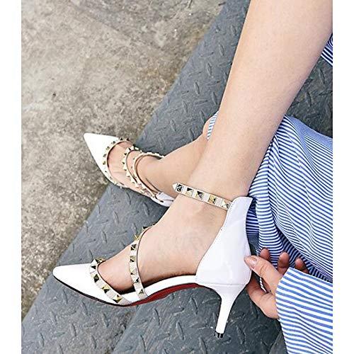 ZHZNVX Zapatos de Mujer Nappa Leather Spring Tacones con Bomba Básico Tacón de Aguja Blanco/Negro / Gris White
