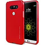 LG G5 Case, [Ultra Slim Fit] Goospery® i-Jelly Case [Metallic Finish] Premium TPU Case Cover [Anti-Yellowing / Discoloring Finish] for LG G5 - Metallic Red