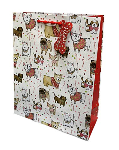 - Festive Multi Dog Breeds Celebrating The Winter Holiday Season with Glitter Accents Merry Christmas Celebration Party Gift Bag 15.25