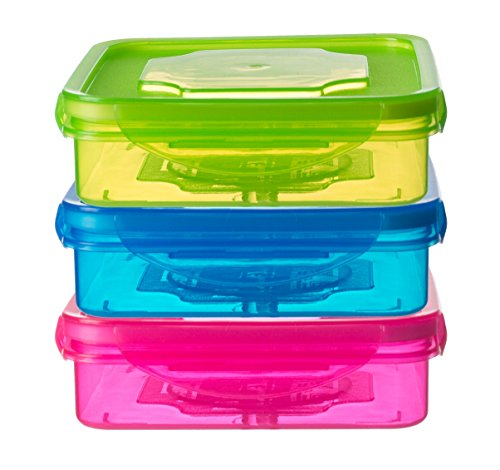 Sandwich Keeper - Set of 3 Sandwich Container for Lunch Boxes - Sandwich Box For Kids & Adults (Multi Color)