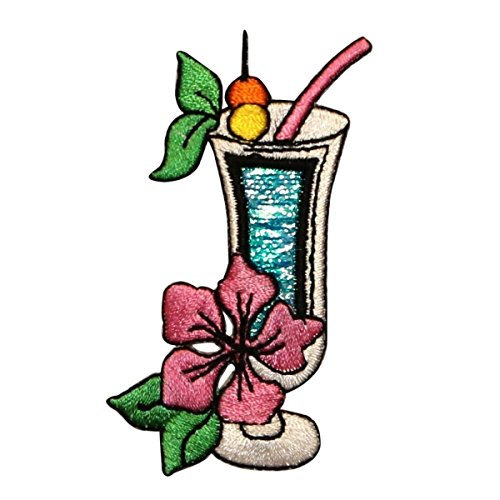 ID 1152Z Fruity Cocktail Patch Vacation Mix Drink Embroidered Iron On Applique