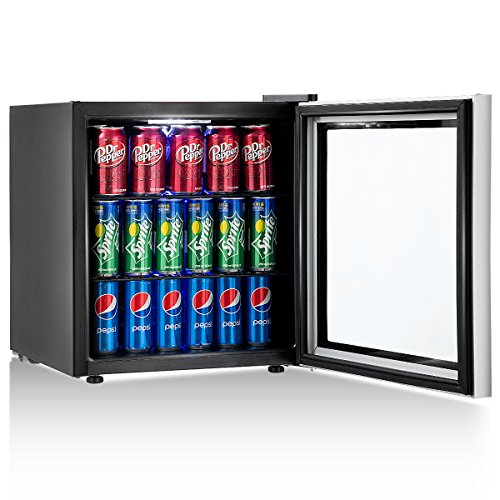 Costway Beverage Refrigerator Portable Mini Beer Wine Soda Drink Beverage Cooler Black