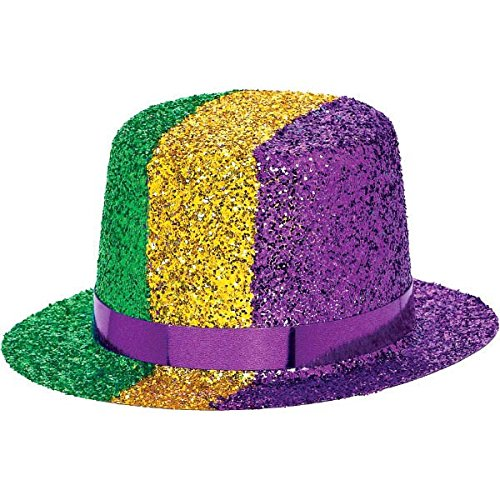 e0651675349881 Our Mini Mardi Gras Top Hat is a layered in dazzling gold glitter. With a  purple foil hat band and die-cut green foil