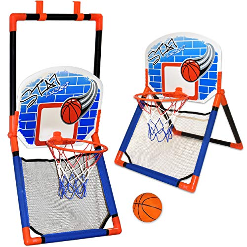 Basketball Hoop for Kids - 2 in 1 Over The Door and Floor Basketball Play Set for Toddlers, Boys and Girls Outdoor and Indoor Sport, Ball Included