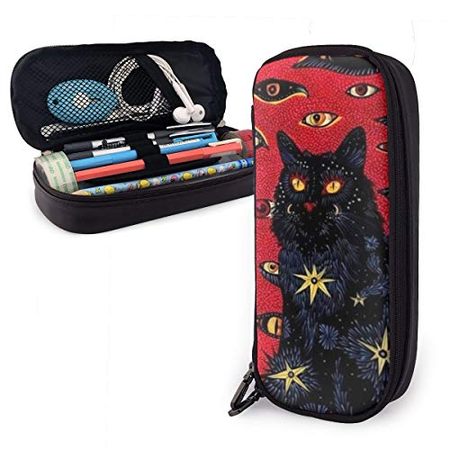 Pen Case Big Capacity Makeup Pouch Bag Pencil Cases Pen Holder with Zipper for Student Children School Office Stationery Black Cat Psychedelic Eyes]()