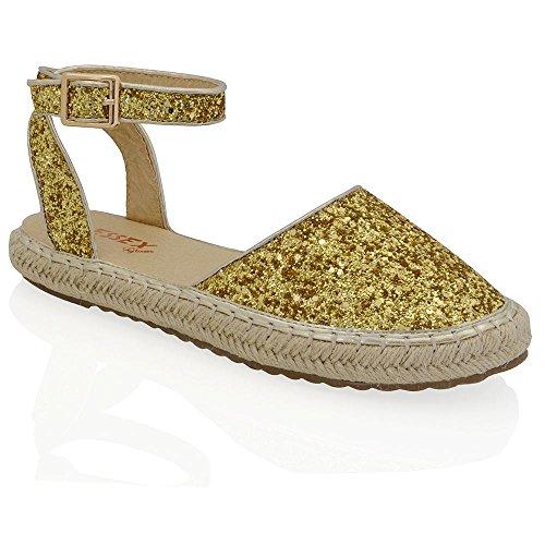 Essex Glam Sintético Zapatos de esparto con plataforma y tiras al tobillo Oro Resplandecer