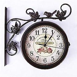 YiCanGg Wrought Iron Wall Clock, Outdoor Garden Bird Double Sided Wall Clock, Creative Clock Silent Motion Roman Clock You Deserve to Have