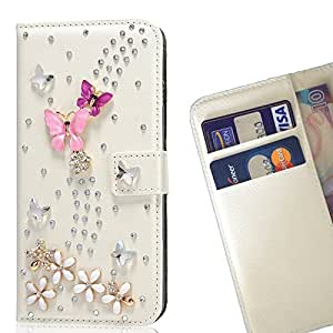 Pink Purple Butterfly Fly - Crystal Diamond Waller Leather Case Cover 3D Bling FOR ZTE V6 @ THE