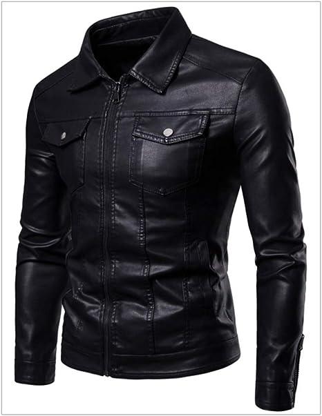 Fxwj Hombres Cremallera Chaqueta Slim Fit Camisa Mangas largas imitación Cuero Outwear: Amazon.es: Deportes y aire libre