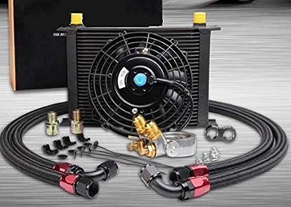 Oil cooler Radiador de Aceite 30 rayas con Ventola .: Amazon.es ...