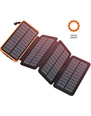 PEALIKER Solar Charger 25000mAh Portable Power Bank with Dual USB 2.1A Output 4 Solar Panels Waterproof Battery Pack for Smartphones and Tablets Outdoor Camping
