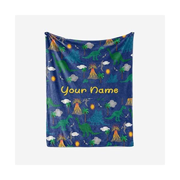 Personalized Corner Custom Dark Blue Dinosaur Fleece Throw Blanket for Kids – Boys Girls Baby Toddler Infants Blankets for Bed (30×40 Inches)